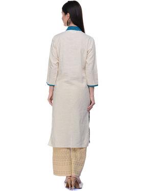 Lavennder Khaadi Printed Off White Long Straight Kurta - 623562