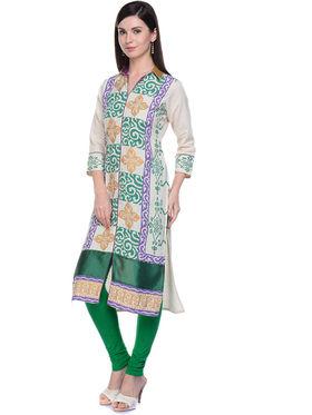 Lavennder Khaadi Printed Off White Long Straight Kurta - 623570
