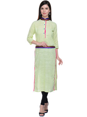 Lavennder Khaadi Plain Light Green Long Straight Kurta - 623571