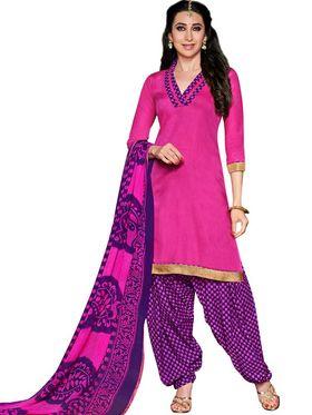 Adah Cotton Plain Dress Material -Pink -744-8018