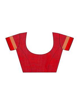 Black Chanderi  Zari Work Saree with Red Blouse Piece_ADM-SR-SNH3-10060