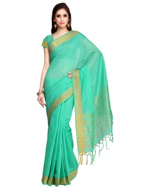 Green Chanderi Zari Border Saree with Blouse Piece_ADM-SR-SNH3-10062