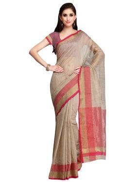 Beige Cotton Linen Red Border Saree with Blouse Piece_ADM-SR-SNH3-10076
