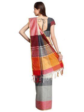 Multicolour Bhagalpuri Silk Saree with Blouse Piece_ADM-SR-SNH3-10078