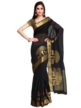 Black Chanderi  Zari Work Saree with Black Blouse Piece_ADM-SR-SNH3-10096