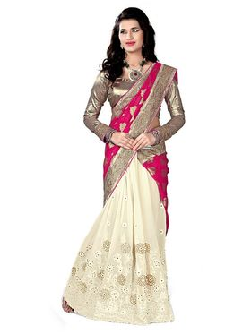 Khushali Fashion Embroidered Jacquard Half & Half Saree_KF02