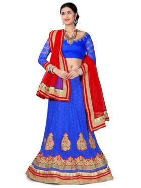 Khushali Fashion Embroidered Net Lehenga Choli(Blue)_ASFN2A116BLUE