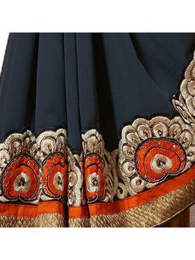 Khushali Fashion Embroidered Georgette Half & Half Saree(Grey,Multi)_ASFPVA348