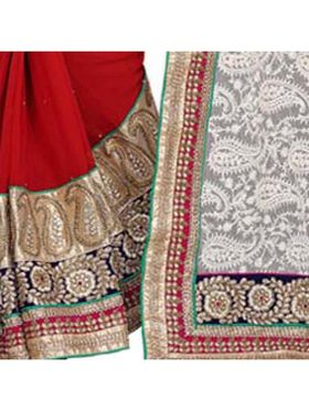 Khushali Fashion Embroidered Georgette Half & Half Saree_KF03