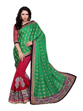 Khushali Fashion Embroidered Georgette Half & Half Saree_KF05