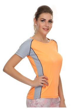 Clovia Polyester Blended Solid Dri-Fit Sports T-Shirt -AT0011P16