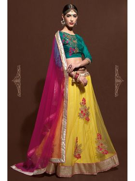 Yellow Net Embroidered Lehenga Choli with Pink Dupatta_AY-LH-SWR-10006