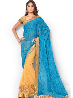 Admyrin Embroidered Printed Georgette and Chiffon Saree -ab05