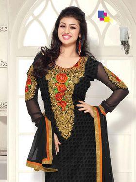 Adah Fashions Georgette Embroidered A-Line Salwar Suit - Black - 657-1004