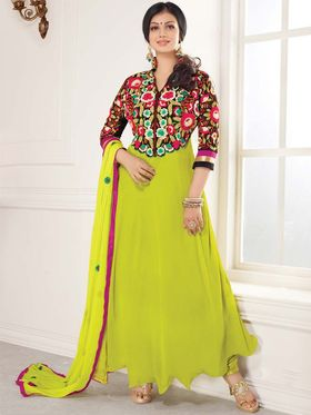 Adah Fashions Georgette Embroidered Anarkali Suit - Lime Green - 658-1003
