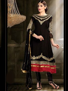 Adah Fashions Georgette Embroidered Anarkali Suit - Black - 659-1003