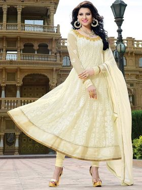 Adah Fashions Georgette Embroidered Anarkali Suit - Cream - 666-15003