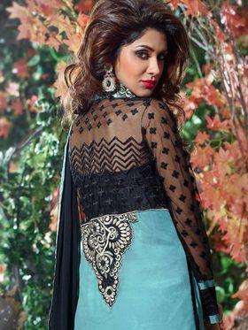 Adah Fashions Georgette Embroidered A-Line Salwar Suit - Black & Sea Blue - 671-8001