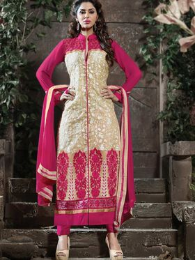Adah Fashions Georgette Embroidered Semi Stitched Suit - Pink & Beige