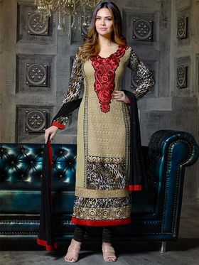 Adah Fashions Georgette Embroidered A-Line Salwar Suit - Beige - 683-313