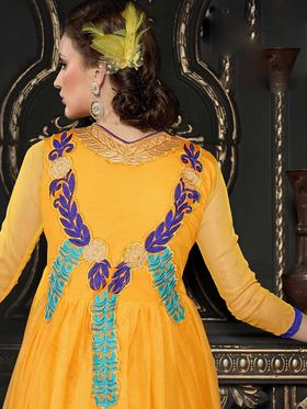 Adah Fashions Soft Net Embroidered Semi Stitched Suit - Yellow