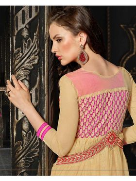 Adah Fashions Soft Net Embroidered Semi Stitched Suit - Beige & Pink