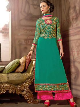Adah Fashions Georgette Embroidered Semi Stitched Suit - Green