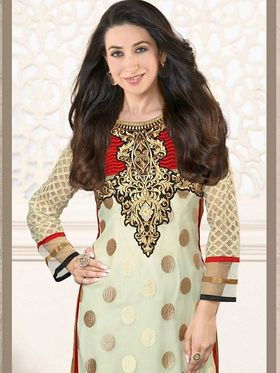 Adah Fashions Georgette Embroidered Semi Stitched Suit - Cream - 716-5109B