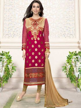 Adah Fashions Georgette Embroidered Semi Stitched Suit - Pink - 716-5109I