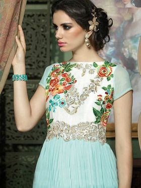 Adah Fashions Georgette Embroidered Semi Stitched Suit - Sky Blue