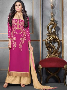 Adah Fashions Georgette Embroidered Semi Stitched Suit - Pink - 741-52003