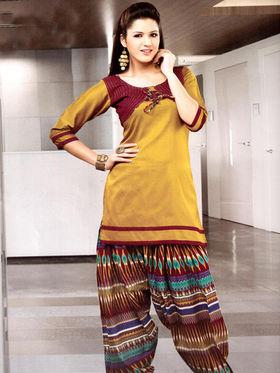 Adah Fashions Designer Cotton-Silk Dress Material - Yellow
