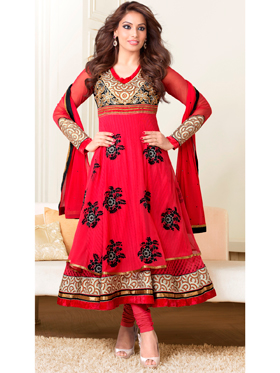 Adah Fashions Designer Pure Bemberg Semi-Stitched Suit - Red