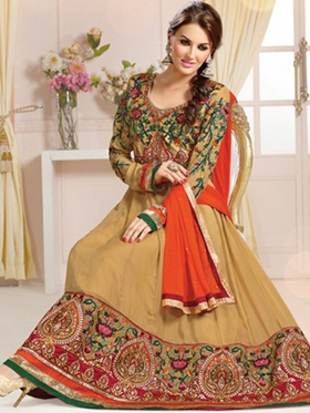 Adah Fashions Designer Georgette Semi-Stitched Suit - Brown - 479-107