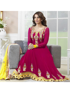 Adah Fashions Embroidered Georgette Semi-Stitched Suit - Magenta