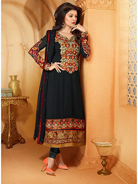 Adah Fashions Embroidered Faux Georgette Semi-Stitched Anarkali Suit - Black - 438-26003