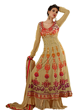 Adah Fashions Embroidered Georgette Semi-Stitched Anarkali Suit - Beige - 380-31