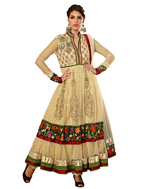 Adah Fashions Embroidered Georgette Semi-Stitched Anarkali Suit - Cream - 380-33