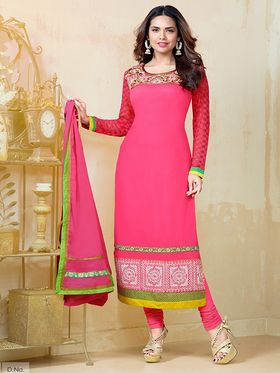 Adah Fashions  Faux Georgette Embroidered Semi Stitched Dress Material - Pink - 559-1307