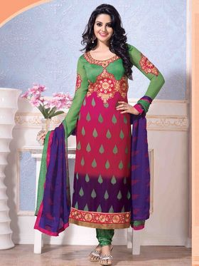 Adah Fashions Faux Georgette Embroidered Semi Stitched A-Line Dress Material - Multicolour_627-2008