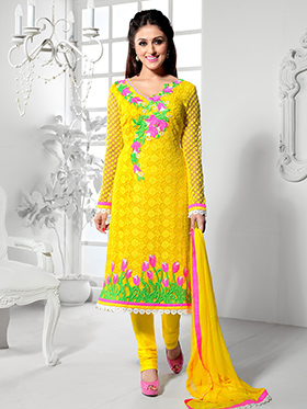 Adah Fashions Embroidered Pure Bamber Semi Stitched Pakistani Suit - Yellow