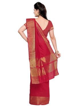 Admyrin Cotton Silk Plain Saree - Red - ADM-SR-SNH-10003