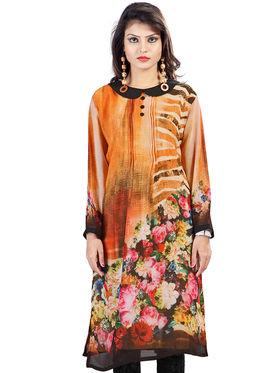 Admyrin Georgette Printed Kurti - Light Orange - 1274