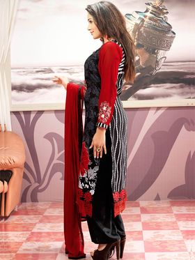 Admyrin Cambric Cotton Printed Dress Material - Black+Red - 7001