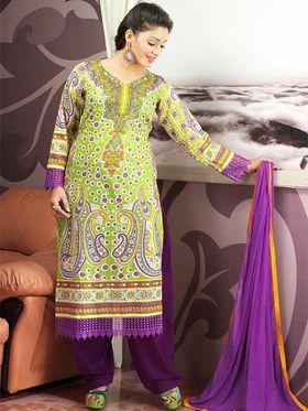 Admyrin Cambric Cotton Printed Dress Material - Light Green - 7010