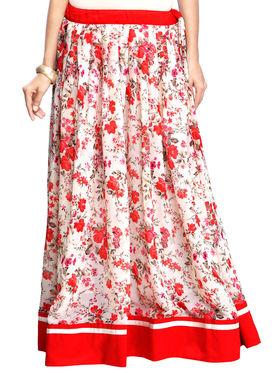 Admyrin Georgette Printed Skirt - Cream and Red - AY-SKI-RG6-595