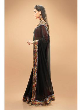 Admyrin Georgette Printed Saree - Black - 11003