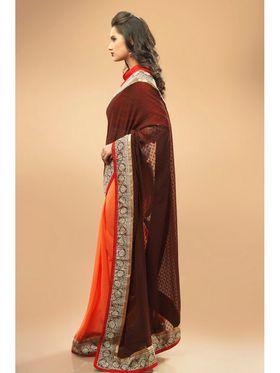 Admyrin Georgette+Chiffon Printed Saree - Orange+Brown - 11007