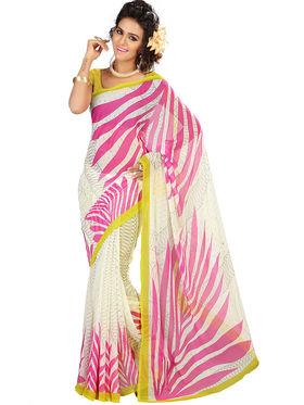 Admyrin Georgette Printed Saree - White+Pink - 2182a