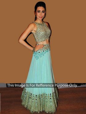 Arisha Net Embroidered Semi-Stitched Anarkali Suit - Turquoise